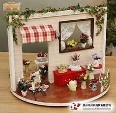 DIY Miniature of Beautiful Rose Garden on 360° Turn Table w Music Cover