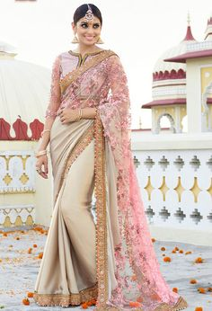 Cream and Blush Pink #Designer #Saree