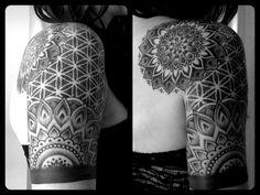 Floral Mandala 1/4 sleeve by Michael Bergfalk at Cathedral tattoo in Utah