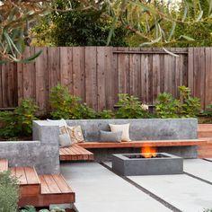 by Arterra LLP Landscape Architects - great bench, wall, firepit.