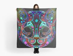 Art painting on Scarf rainbow cat scarf/wrap Foulard Cat Scarf, Scarf Wrap, Rainbow, Vintage, Cats, Painting, Headscarves, Unique Jewelry, Rain Bow