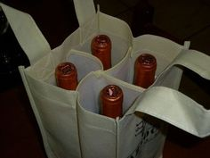 Wine & Dine Reusable Tote Bag / Reusable Grocery Bags, Tote Bags, and Wine Totes / Holden Bags Sewing Crafts, Sewing Projects, Trolley Bags, Beer Packaging, Reusable Grocery Bags, Craft Markets, Bottle Bag, Creation Couture, Jute Bags