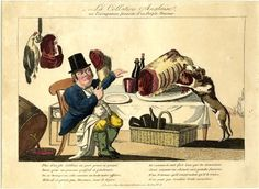 Satire showing an English Milord eating at a table laden with a huge joint of red meat and bottles of wine, with his dog leaping up to greedily lick the bleeding joint.  January 1817 Hand-coloured etching