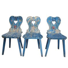 Triple Country Style Chairs from Transylvania With Carved Hearts (via @1stdibs)