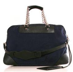 navy blue canvas/black leather Balenciaga handbag
