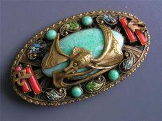 Large Vintage RARE Max Neiger Czech Glass Enamel Chinese Motif Pin Brooch | eBay