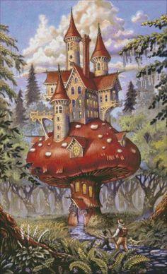 """""""Mushroom Inn,"""" by Randal Spangler Cross Stitch Books, Cross Stitch Art, Counted Cross Stitch Patterns, Stitching Patterns, Cross Stitching, Pumpkins For Sale, Needlework Shops, Randal, Earth Design"""