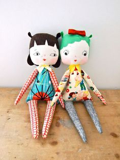 Hand made rag doll girls toy mint green baby yoyo Lucille.