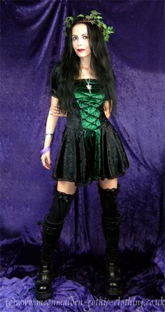 Renaissance Maiden Mini Dress by Moonmaiden Gothic Clothing UK- crushed velvet medieval goth minidress