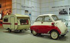 Small vintage trailer behind a BMW Isetta Vintage Campers Trailers, Retro Campers, Vintage Caravans, Tiny Trailers, Cool Campers, Camper Trailers, Small Trailer, Retro Caravan, Mini Caravan