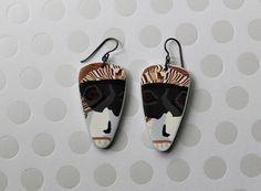 Tribal Earrings Mask Monkey Face Polymer Clay Jewelry