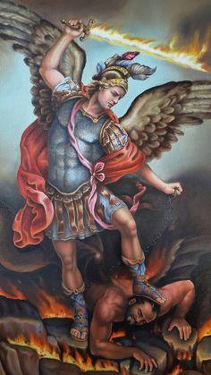 Original Religious Painting by Leonardo Montoya Religious Images, Religious Icons, Religious Art, Archangel Michael Tattoo, St Michael Tattoo, St Micheal, Saint Michael, Archangel Raphael, Raphael Angel