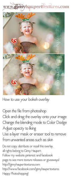 How to use Ginny Haupert's Bokeh overlay in photoshop with FREE overlay!