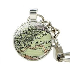 Colombia Map Key chain, South America Map Glass Dome Pendant Keychain Map Jewelry Keychains