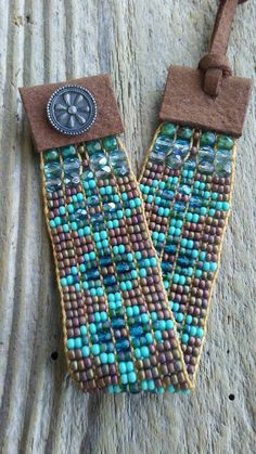 Boho chic Southwest Native American influence hand-woven Japanese seed beads Czech glass this double wrap bracelet fits a size 6 to 8 wrist closes with a handmade sterling silver button and measures 1 inch wide