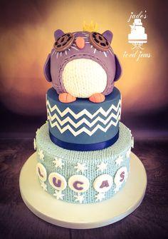 Christening cake Baptism cake Knitted cake Chevron cake 1st birthday cake