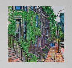 tableau peinture originale urbaine pastel Montreal Canada par Celinemodernart sur Etsy