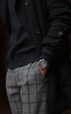 Window pane checked TOPMAN dress pant, AllSaints sweater, Comme des Garçons SHIRT peacoat & SEIKO Astron GPS solar watch #AstronElite #client #menswear