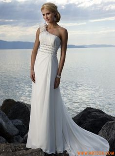 One shoulder elegant beach wedding dress