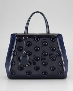 2Jours Patent Leather Tote Bag - Fendi ( Tote / shoulder bags Bucket Patent leather Studded Blue Calf skin / hair)