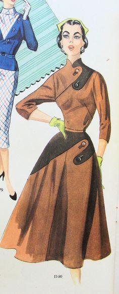 Rare 1950s Modes Royale Dress Pattern Full Skirted,Striking Contrast Design Bust 36
