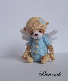 crochet mini Bear Angel by benesak