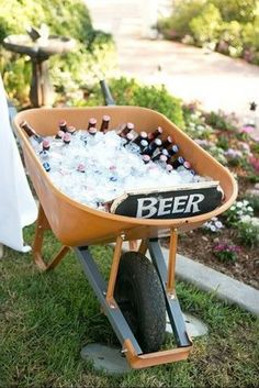 Serve up a wheelbarrow full of cold beer. Serve up a wheelbarrow full of cold beer. Garden Party Decorations, Garden Parties, Budget Wedding Decorations, Garden Wedding Ideas On A Budget, Beer Decorations, Outdoor Parties, Wedding Themes, Garden Ideas, Wedding Cakes