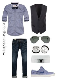 """Untitled #162"" by ohhhifyouonlyknew ❤ liked on Polyvore featuring Abercrombie & Fitch, NIKE, Ray-Ban, Dolce&Gabbana, waistcoat, plugs, a&f, my creations, sexy and dyke"