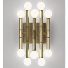 "meurice 5-arm wall sconce  • available in polished nickel or antiqued brass  • 7.75"" wide x 12"" high x 5.5"" deep  • max 25 watt candelabra bulbs"