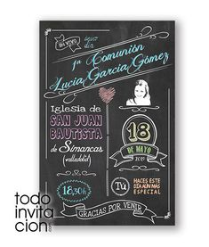 Invitación - recordatorio de comunión muy original diseñado como una carta de amor. Por un lado, su foto en el sello, nombre y fecha. Por el otro el texto.