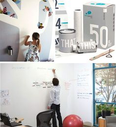 Writable Paint turns Walls into Easy Dry-Erase Whiteboards   •   Titled IdeaPaint, it is available for half the price of an actual whiteboard and works just as well or better, leaving no marks behind when you wash down your work (and, without the rest of the infrastructure, it turns out to be greener, too).