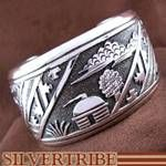 Native American Indian Genuine Sterling Silver Thomas Singer Cuff Bracelet