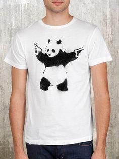 Oso panda Street Art - hombres de pantalla impresa t-shirt - American Apparel - disponible en S, M, L, XL y 2XL