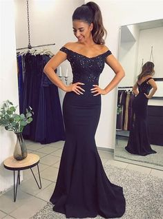 Elegant Off-the-Shoulder Mermaid Beaded Lace Appliques Prom Evening Formal Dresses 996021535