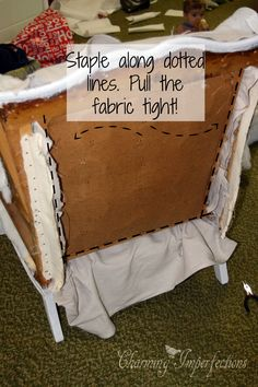 this Affordable, DIY, no sew wingback chair re-upholster tutorial is thorough and complete with great pictures!
