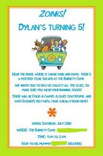 Scooby Doo Party - Invitation wording is clever