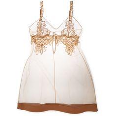 La Perla La Perla Women's Paisley Chemise - Yellow - Size P ($149) ❤ liked on Polyvore featuring intimates, chemises, yellow, lace chemise, lace slips, lacy slips and la perla
