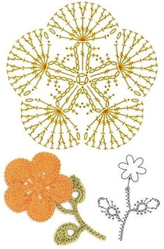 Captivating All About Crochet Ideas. Awe Inspiring All About Crochet Ideas. Crochet Puff Flower, Crochet Leaves, Crochet Motifs, Crochet Flower Patterns, Crochet Diagram, Crochet Stitches Patterns, Crochet Chart, Crochet Designs, Crochet Doilies