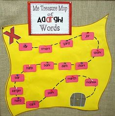 """Pirate/sight words: treasure map of """"aaargh"""" sight words...the """"ar"""" cards w/sight words were hidden in varying spots.  They had to read them b/f checking them off and when all were found/read, they got treasure (candy """"bar"""" - get it?!?!)"""