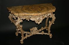 Very fine, Roman, Rococo period console table.  In solid, carved, silvered wood with original marble top. Third quarter of the 18th century.