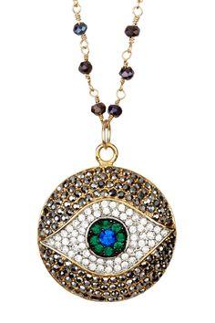 Pave Crystal Evil Eye Pendant Necklace