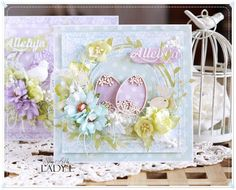 Easter Cards & Video Tutorial / Kartki Wielkanocne - Scrap Art by Lady E Easter Projects, Easter Crafts, Easter Decor, Card Making Inspiration, Making Ideas, Easter Greeting Cards, Easter Card, Card Making Designs, Easter Printables