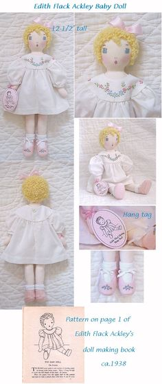 Edith Flack Ackley baby doll made from vintage pattern.