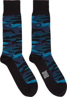 Paul Smith: Black & Blue Camo Socks | SSENSE