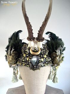 Enchanting Antler Headdress Ritual Crown Woodland Fairy Costume Offbeat Wedding Pagan Tribal Deer Skull FOREST GODDESS by Spinning Castle