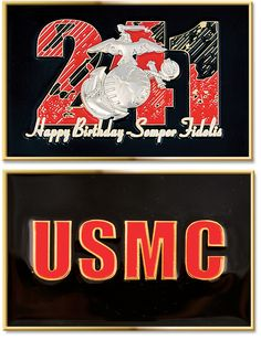 """Commemorate the 241st Birthday of the Marine Corps with Sgt Grit's Exclusive USMC 241st Birthday Coin!  Order Yours Today!  Features:  Made of zinc metal. Measures: 2.5""""(L) x 1.75""""(W). Design displays Sgt Grit's Exclusive 241st USMC Birthday design on side one and the text USMC on the other side.  #SgtGrit #Marines"""