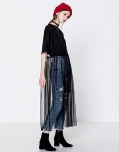 Robe tulle manches courtes - Robes - Vêtements - Femme - PULL&BEAR France