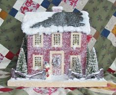 Colonial Saltbox Primitive RED Lighted Putz Christmas House Paper ...