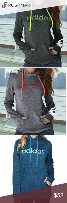 Adidas Hoodie Three-piece hood with lining and draw cord Thumbholes Set-in sleeves Kangaroo pocket Back neck tape with locker loop Heat transfer adidas badge of sport on pocket Climawarm heat transfer at back right hem Regular fit 100% polyester fleece Adidas Sweaters