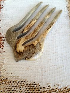 Hair Fork Spalted Orange Tree Wood 4 Prong by votepalantine on Etsy.  What an amazing piece of wood.. just beautiful..